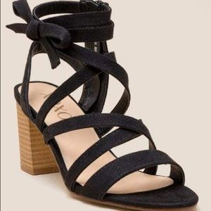 XOXO black emosa strappy block heel